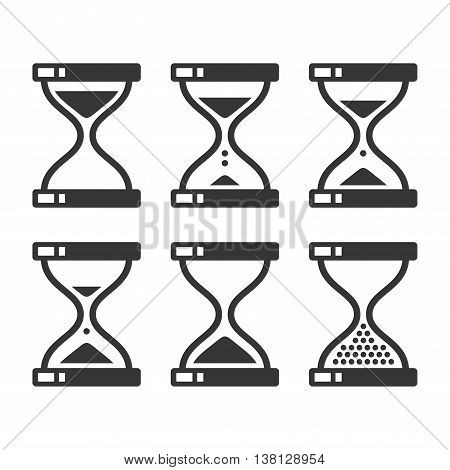 Sand Hourglass Timer Icon Set. Vector illustration