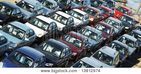 Many cars in transportation platform