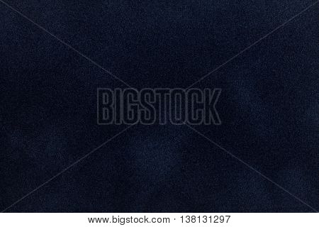 Dark blue suede fabric closeup. Velvet texture background