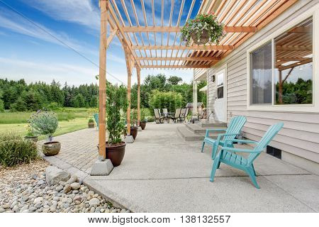 Cozy Backyard Patio Area With Table Set