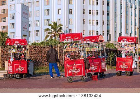 DURBAN SOUTH AFRICA - APRIL 16 2016: Mobile Street Vendor Carts on The Golden Mile promenade