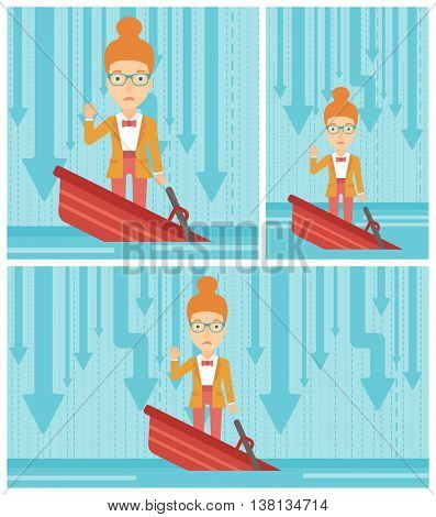 A scared young business woman standing in a sinking boat and asking for help. Concept of business bankruptcy. Vector flat design illustration. Square, horizontal, vertical layouts.