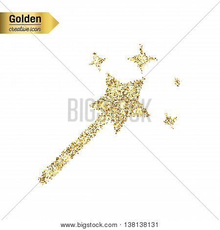 Gold glitter vector icon of magic wand isolated on background. Art creative concept illustration for web, glow light confetti, bright sequins, sparkle tinsel, abstract bling, shimmer dust, foil.