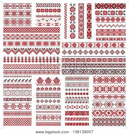 Big set of traditional red embroidery. Vector illustration of ethnic seamless ornamental geometric patterns for your design