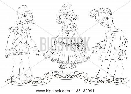 Harlequin Columbine and Pierrot are dressed in costumes commedia dell'arte coloring book