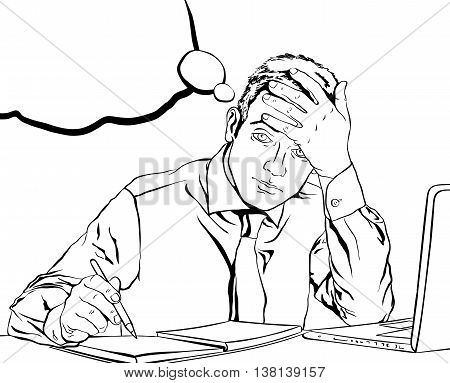 sad tired office employee sitting at his desk with bubbles in the background in the style of pop art coloring book