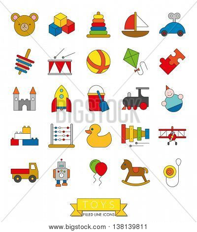 Toys icon collection. Set of 25 children's toys symbols, thin line with color fill design.