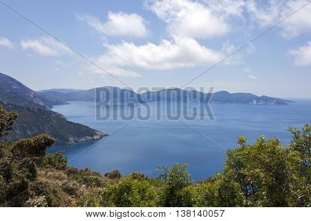 The beautiful cobalt blue sea near assos, in Kefalonia in Greece