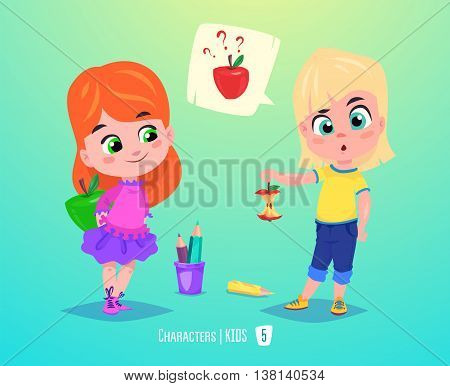 Cute SchoolGirls. Back to School isolated cartoon characters on blue background. Great illustration for a school books and more. VECTOR stock illustration.