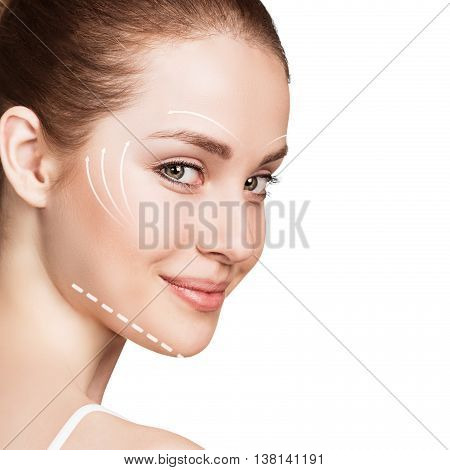Young female face with clean fresh skin isolated on white. Antiaging concept. poster
