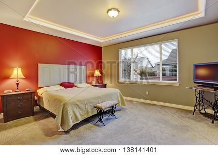 Red Simple Bedroom With Big Bed, Large Window.