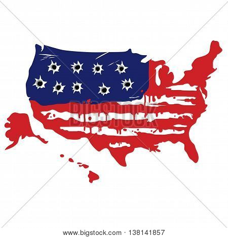 American Map With Bullet Holes Vector Illustration