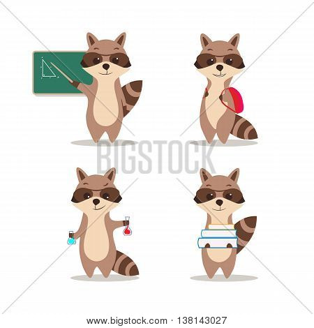 At school. Cute raccoon at a lesson of geometry wrote in chalk on blackboard. At a lesson of chemistry. With a backpack. With textbooks. Isolated white background.