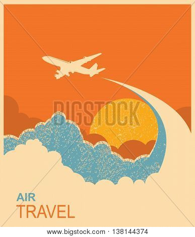 Airplane Flying In Sky.vector Air Travel Background