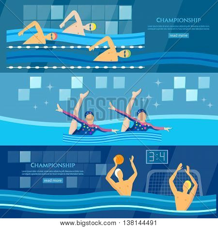 Sport swimming water polo synchronized swimming banner professional water sports vector illustration