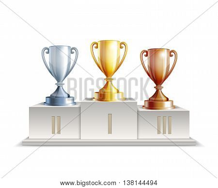 Podium winners with trophy cups isolated on white background. Vector illustration