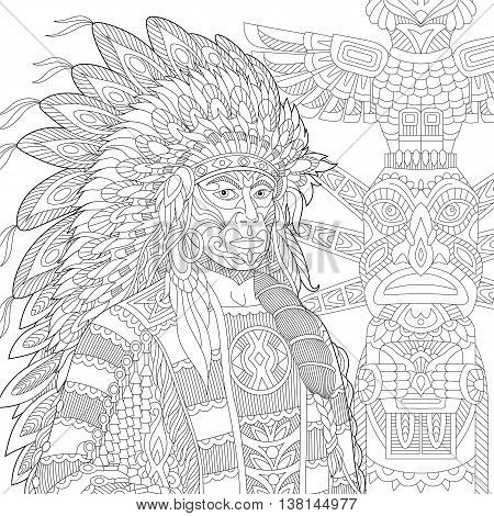 Stylized red indian chief (redskin man) wearing traditional headdress. Freehand sketch for adult anti stress coloring book page with doodle and zentangle elements.