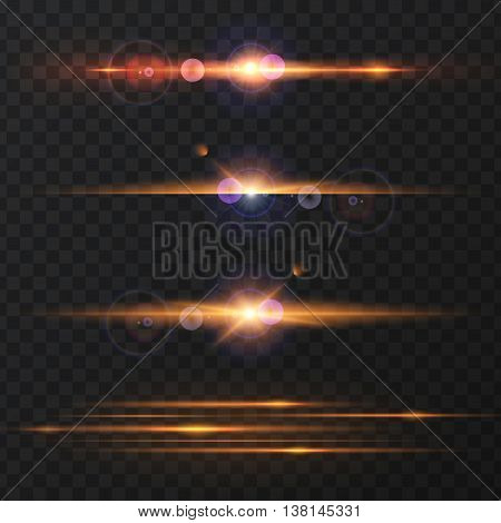 Set of Abstract Lens Flares.Design spare. Glowing stars . Lights and Sparkles on Transparent Background. Transparent Light Effects for Your Design. Vector Illustration.