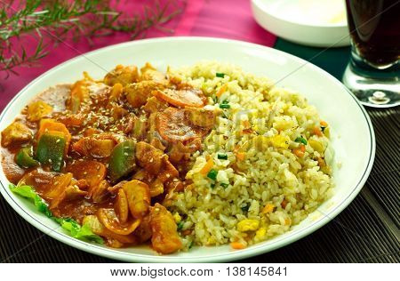 Hayashi rice and fried rice