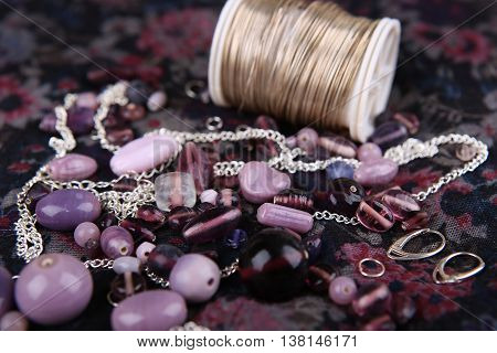 Bead jewelry making as a hobby. Crafting jewelry, wire, and tools.