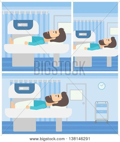 Hipster young man with the beard undergoes an open magnetic resonance imaging scan procedure in hospital rooom. Vector flat design Illustration. Square, horizontal, vertical layouts.
