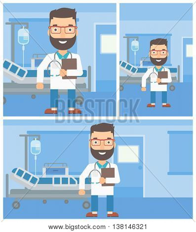 A hipster friendly doctor with stetoscope standing in hospital ward and carrying folder of patient or medical information. Vector flat design Illustration. Square, horizontal, vertical layouts.