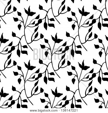 hand drawn monochrome seamless pattern with leafy elements
