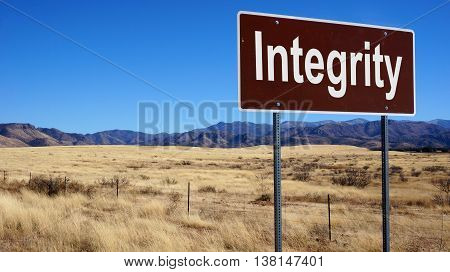 Integrity Brown Road Sign