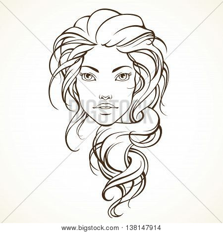 Graphic girl with long frizzy hair. Linear vector illustration