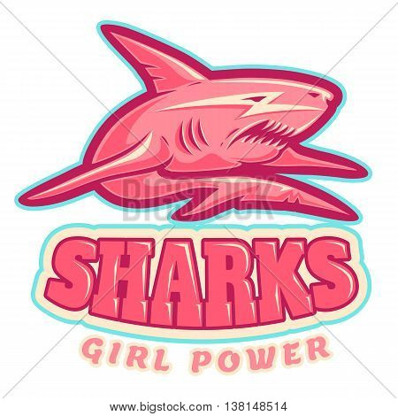 Sport logo with pink shark for women's sport team