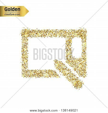 Gold glitter vector icon of graphics tablet isolated on background. Art creative concept illustration for web, glow light confetti, bright sequins, sparkle tinsel, abstract bling, shimmer dust, foil.