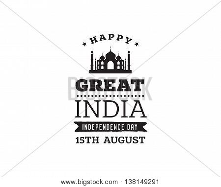 India independence day 15th august vector typographic emblem logo or badge usable