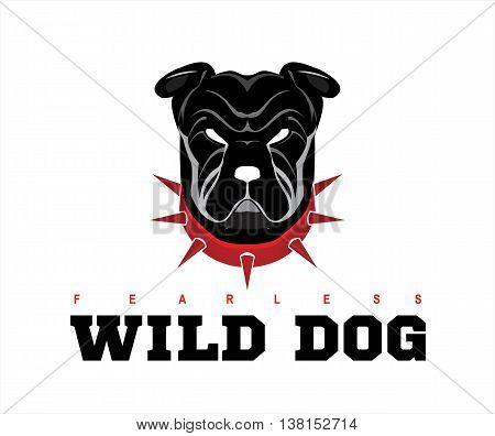 Dog head. Wild dog. Black wild dog. Rottweiler. Bulldog