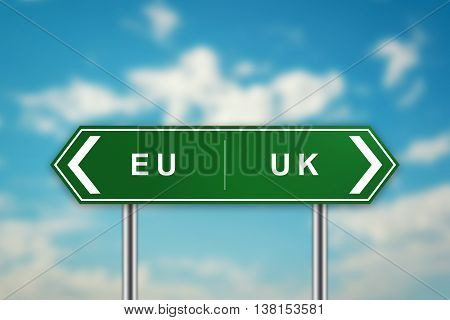 EURO and UK on green road sign with blurred blue sky brexit or british exit concept