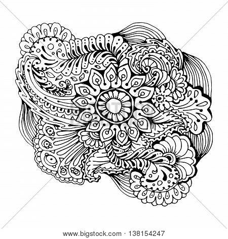Mono color black line art element for adult coloring book page design.Floral collection. Ethnic doodle ornament