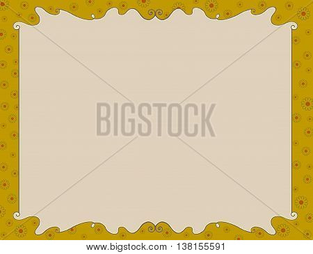 Colorful yellow spring or summer flowers frame invitation or diploma