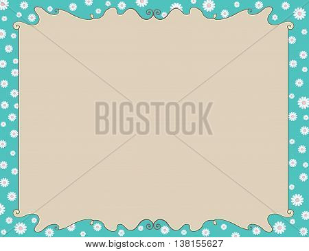 Colorful blue spring or summer flowers frame invitation or diploma