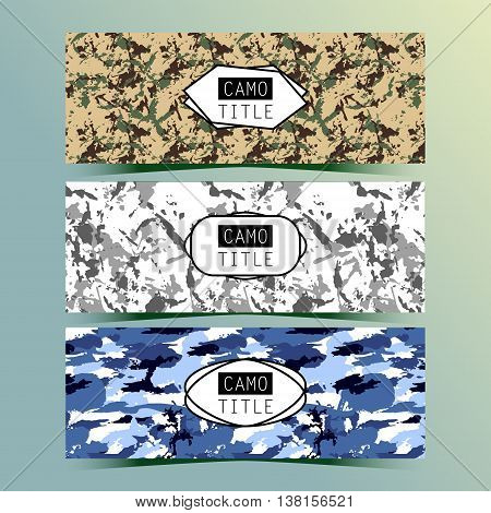 Set of Vintage Creative Banners with Camo, Camouflage Patterns. Retro Presentation for Web site Banner Designs. Pages include seamless pattern under mask.
