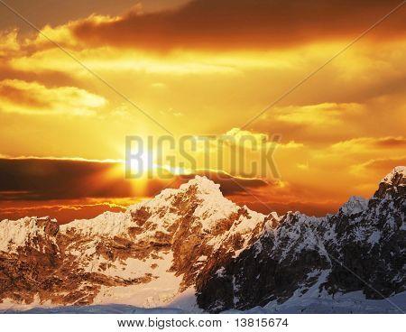 Sunset in mountain