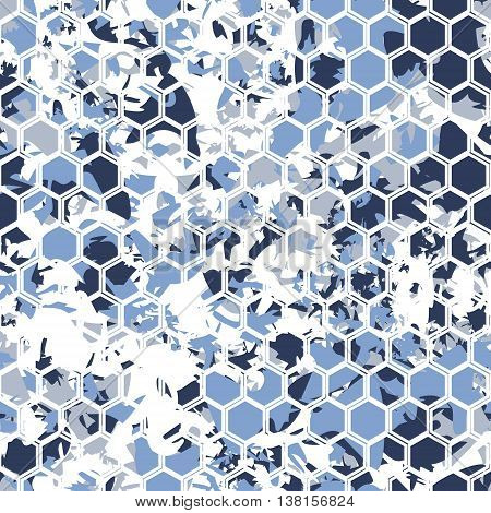 Hexagonal camouflage.Vector digital gexagonal camo seamless pattern