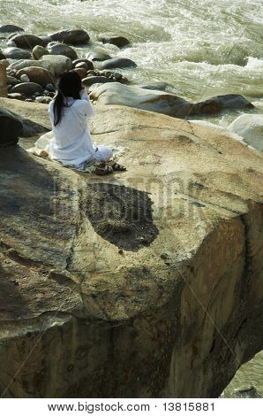 Yoga on Ganga bay