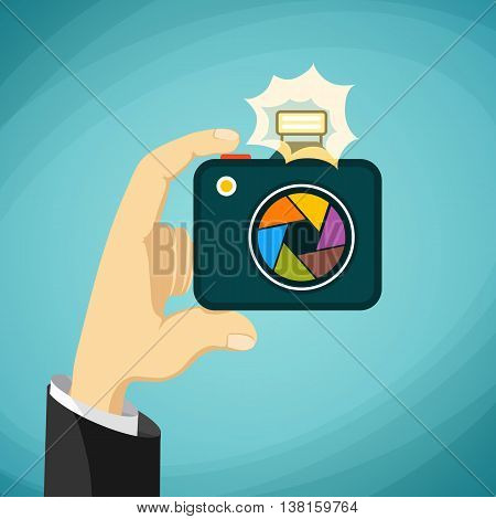 Man holds a camera in his hands. Paparazzi. Stock Vector cartoon illustration.