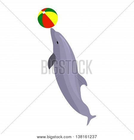 Vector illustration jumping dolphin playing with ball isolated on white background. Dolphin icon. Beach summer ball. Sea circus creature