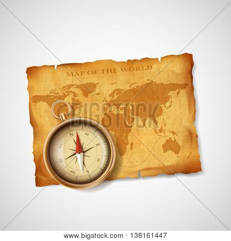 Old vintage antique world map and compass. Stock vector illustration.