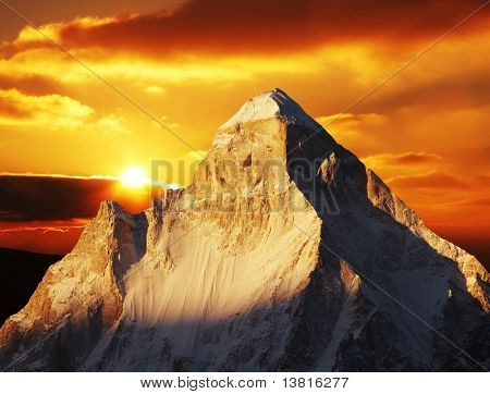 Shivling peak on sunset