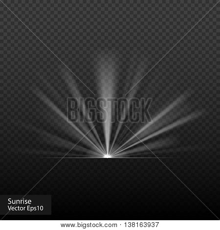 Sunrise really transparent effects. Vector stock illustration. Sunset, dawn, halo sunlight