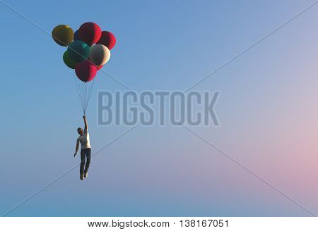 Man flying on balloons.3d render