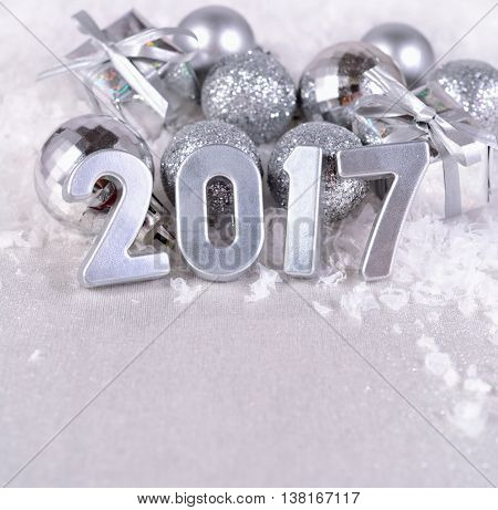 2017 Year Silver Figures And Silvery Christmas Decorations