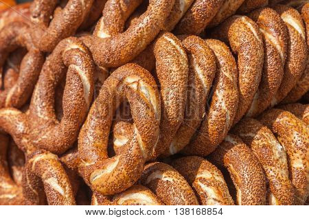 Traditional Turkish Simit, It Is A Circular Bread
