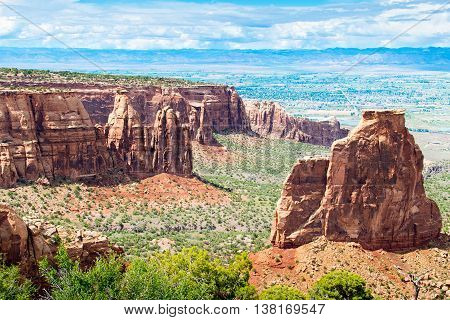 Towering Monoliths in Colorado National Monument in USA